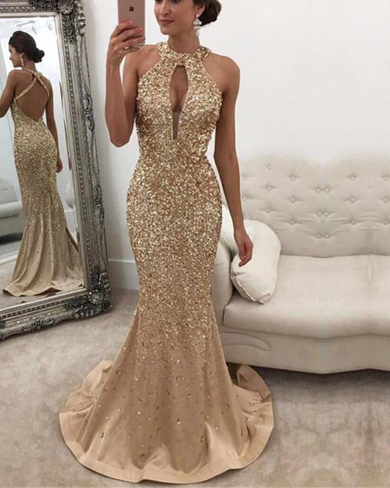 1884e4a4b9 Mermaid Open Back Glitter Evening Dress Halter Heavy Beading Prom Dresses  Sale