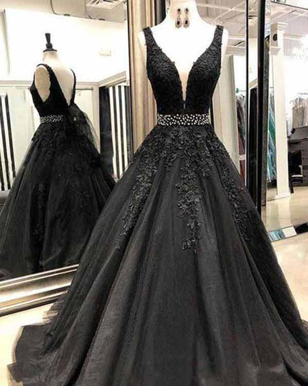 4ee6d9a9e07 Black Tulle Prom Dresses with Lace Appliques Deep V-Neck Backless Evening  Dresses