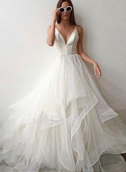 1fae4f753078 White Spaghetti Straps V Neck Backless Prom Dresses For Women Tulle Simple  Evening Dresses ...