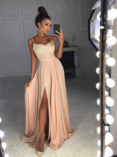 Satin Champagne Spaghetti Straps Appliques Prom Dresses  Evening Dresses With Slit
