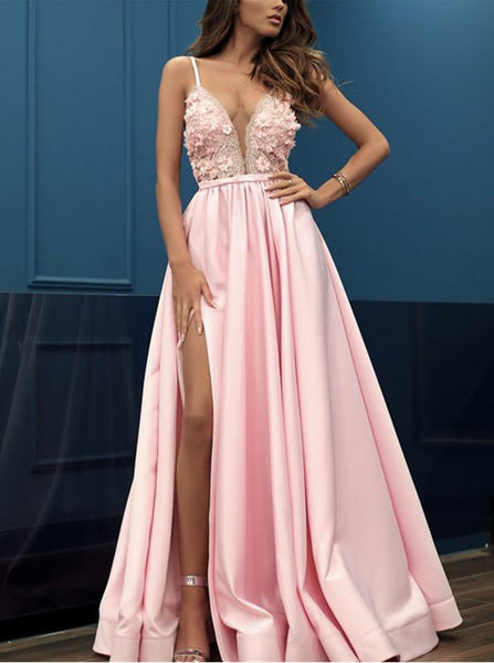 Pink Spaghetti Straps V Neck Satin Long Prom Dresses With Appliques Slit Evening Dresses