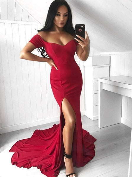 Mermaid Red Satin Off The Shoulder Bodycon Long Prom Dresses Short Sleeves Slit Evening Dresses