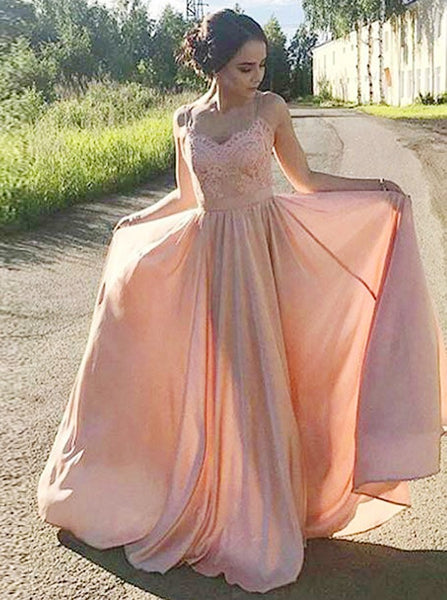 Peach Pink Spaghetti Straps Long Prom Dresses For Women Online With Appliques Evening Dresses