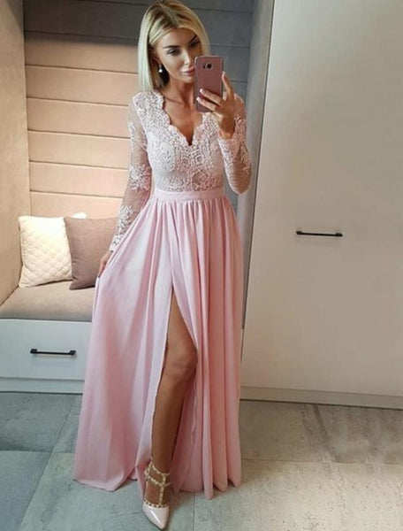 Lace V Neck Long Sleeves Floor Length Prom Dresses With Slit Appliques Evening Dresses