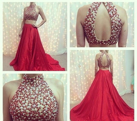 Two Piece Prom Dresses,Red Crystals Prom Dress,Evening Dresses