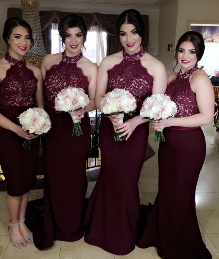 Halter Burgundy Bridesmaid Dress, Beading Bridesmaid Dresses for Wedding