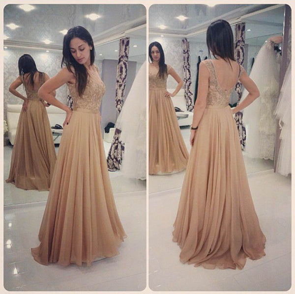 A-Line Prom Dress,Applique Champagne Evening Dresses,Evening Dress