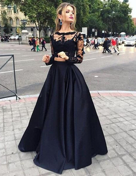 Black Two Pieces Prom Dress,Long Sleeves Prom Dresses,Evening Dress