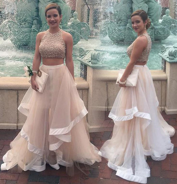 Two Pieces Prom Dress, Long Chiffon Prom Dresses, Evening Dresses