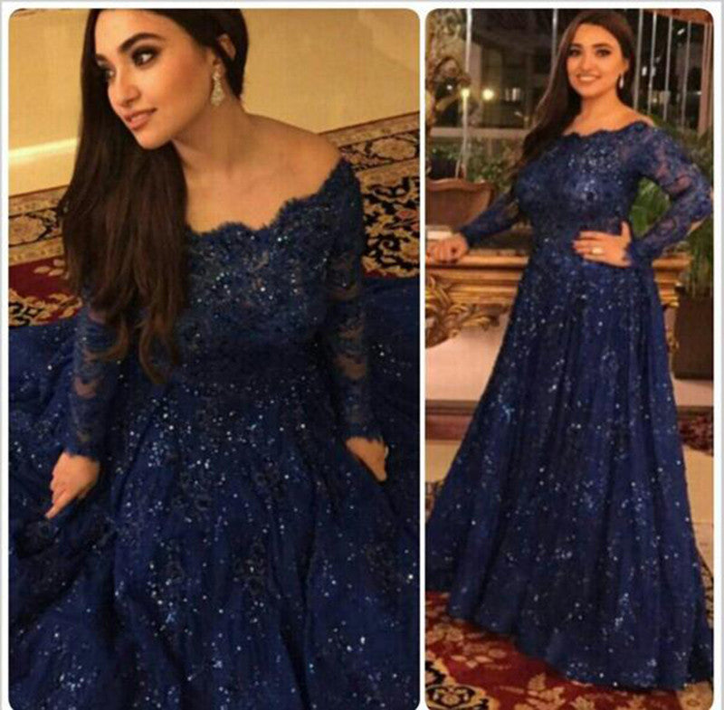 Nave Blue Prom Dresses,Off The Shoulder Prom Dress,Evening Dresses