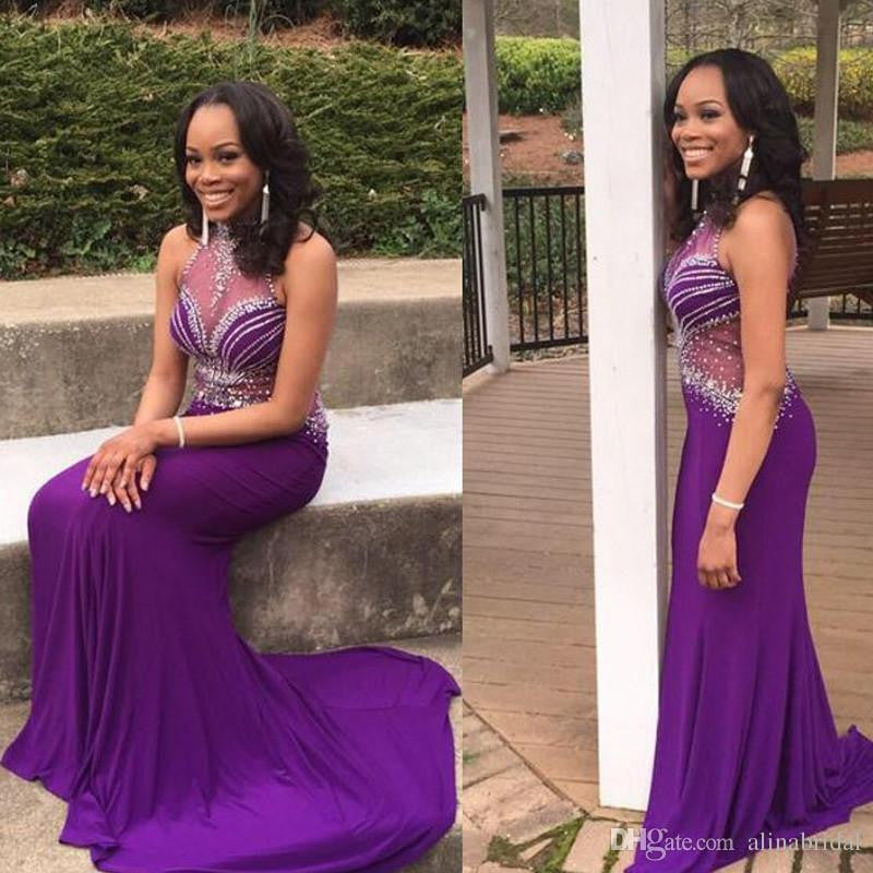 High Neck Purple Satin Beading Prom Dresses