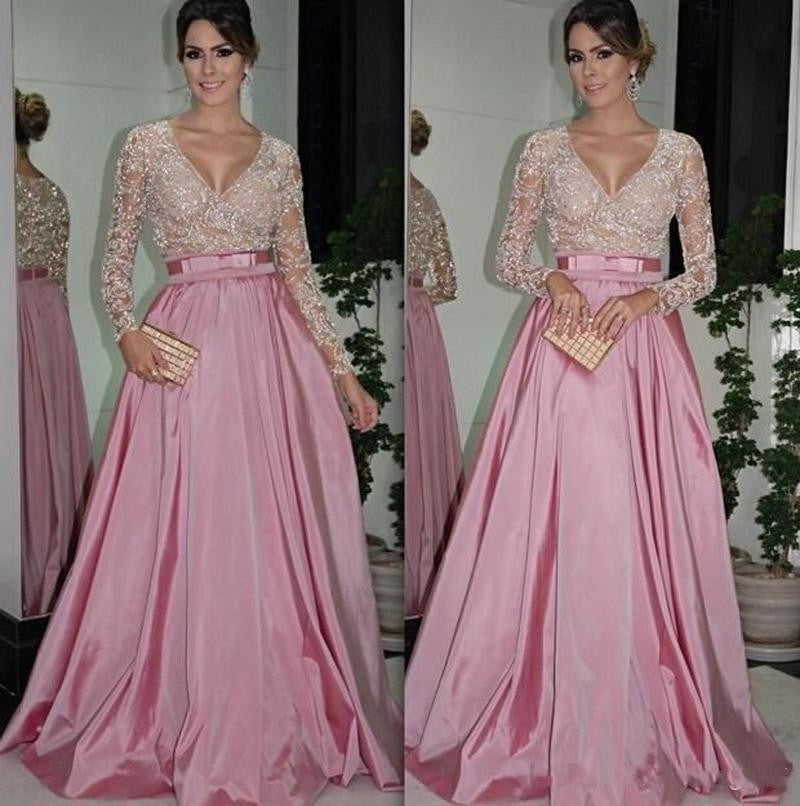 Pink Satin Prom Dresses,V-Neck Long Sleeves Prom Dress,Evening Dresses