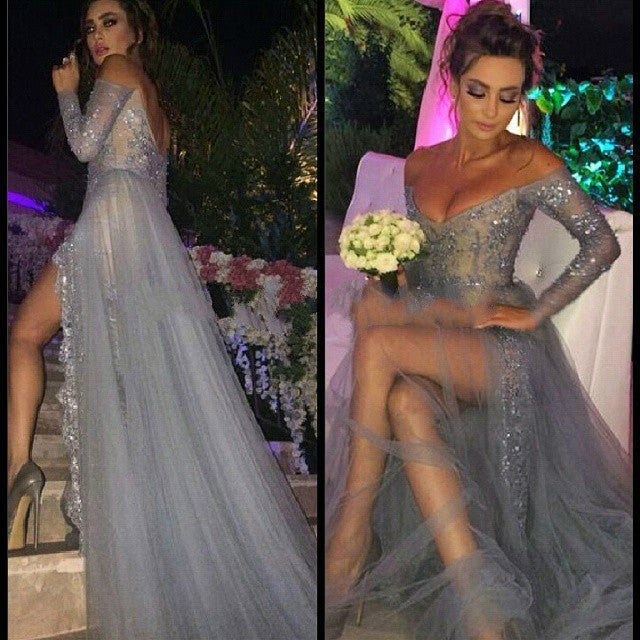 Grey Split Prom Dresses,Sexy V-Neck Prom Dress,Evening Dresses