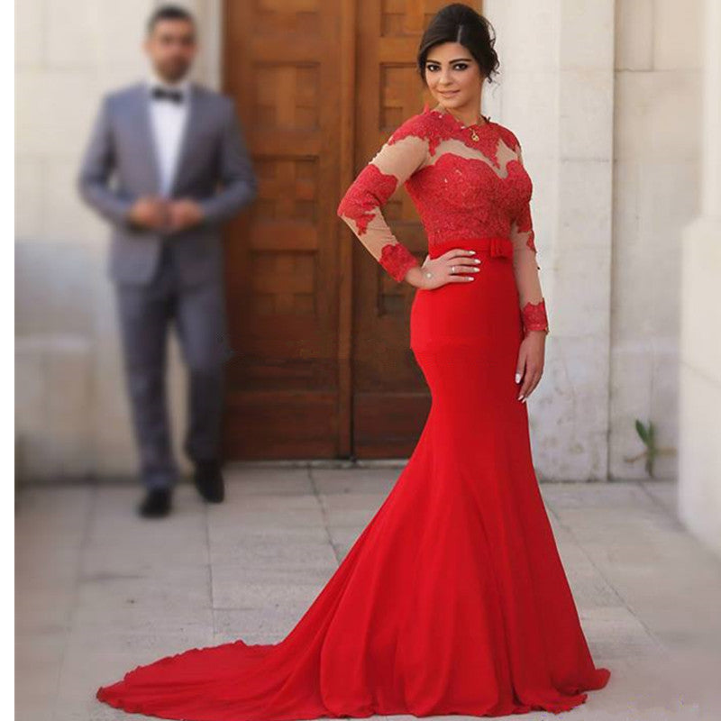 Lace Red  Mermaid Prom Dress,Floor Length Prom Dresses,Evening Dress
