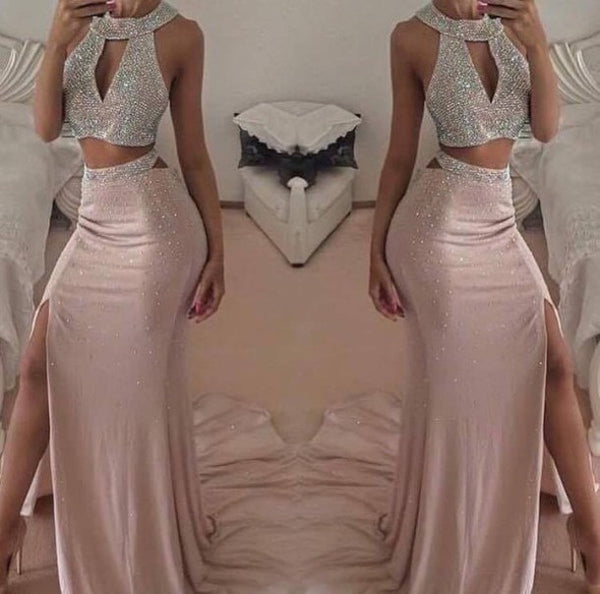 Halter Split Prom Dresses,Two Piece Pink Prom Dress,Evening Dresses