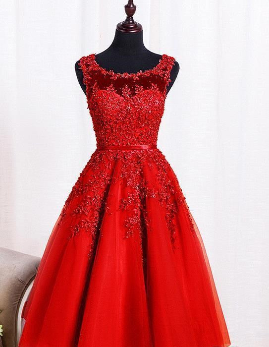 Beautiful Lace Homecoming Dress,Red Tulle Homecoming Dresses