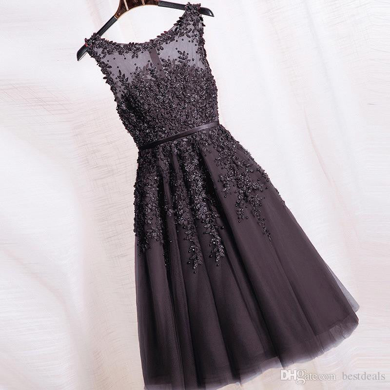 Beautiful Lace Homecoming Dress,Black Tulle Homecoming Dresses