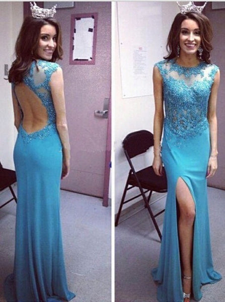 Backless Blue Cap Sleeve Prom Dresses,Evening Dresses