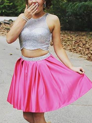 Sparkly A-line Hot Pink Homecoming Dress