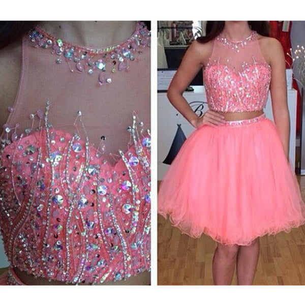 Two Pieces Homecoming Dress, Hot Pink Sequins Homecoming Dress