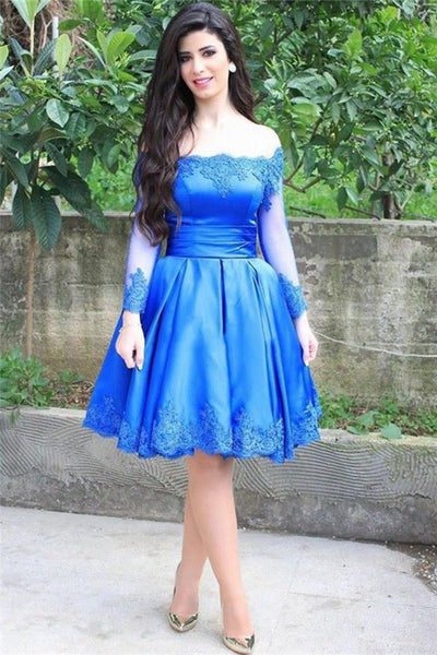 2017 Blue Long Appliques Sleeve Off-the-shoulder Homecoming Dress