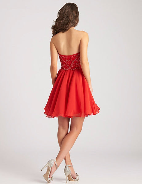 Red Short Homecoming Dress Sweetheart Sparkly Beaded Chiffon Mini Girls Graduation Dresses