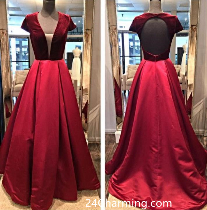 Burgundy Velvet Top Prom Dress with Open Back