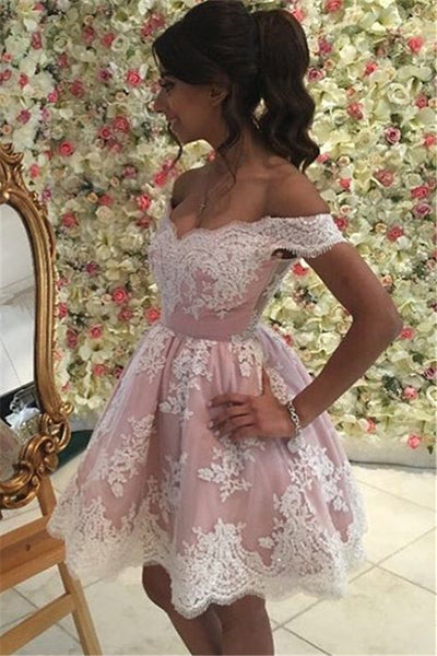 2017 Appliques A-Line Off-the-Shoulder Homecoming Dress