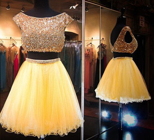 Two Pieces Homecoming Dress, Yellow Beadings Chiffon Homecoming Dress