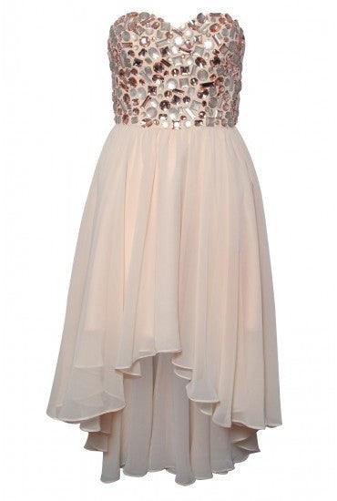 Crystal Cream White Homecoming Dress, Chiffon Homecoming Dress