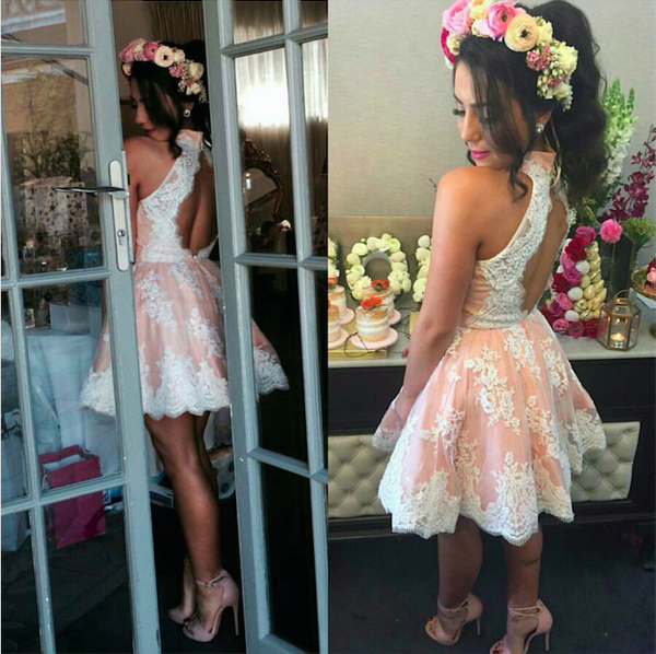 Sleeveless Pink Cute Lace Halter NeckHomecoming Dress