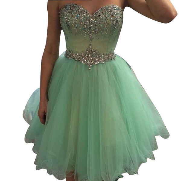 Short Beaded Homecoming Dresses With Rhinestones Strass A-line Corset Puffy Tulle Party Dress