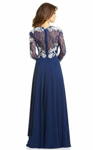 Navy Blue Lace Prom Dresses,Long Sleeve Chiffon Prom Dress,Evening Dresses