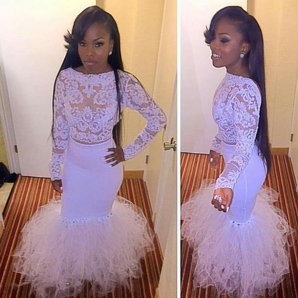 Long Sleeve Prom Dress,White Lace Prom Dresses,Evening Dresses