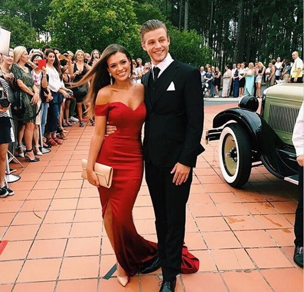 Mermaid Satin Prom Dress, Red Off Shoulder Prom Dresses, Evening Dresses