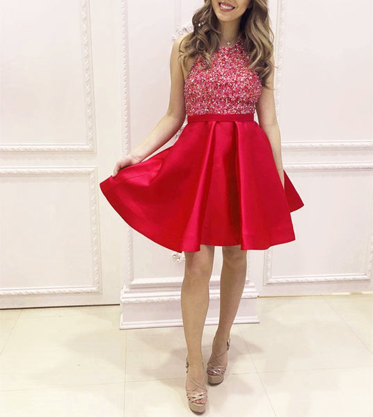 A line Homecoming Dress, Beading Crystal Short Homecoming Dress, Halter Graduation Dresses