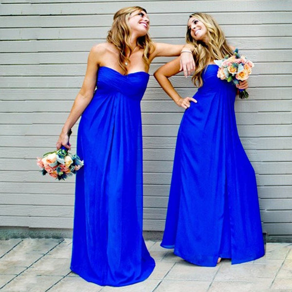 Simple Royal Blue Prom Dress, Strapless Chiffon Prom Dresses, Evening Dresses