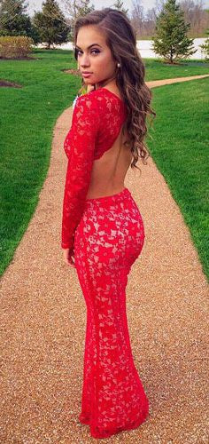Lace Sheath Prom Dresses,Two Piece Red Prom Dress,Evening Dresses