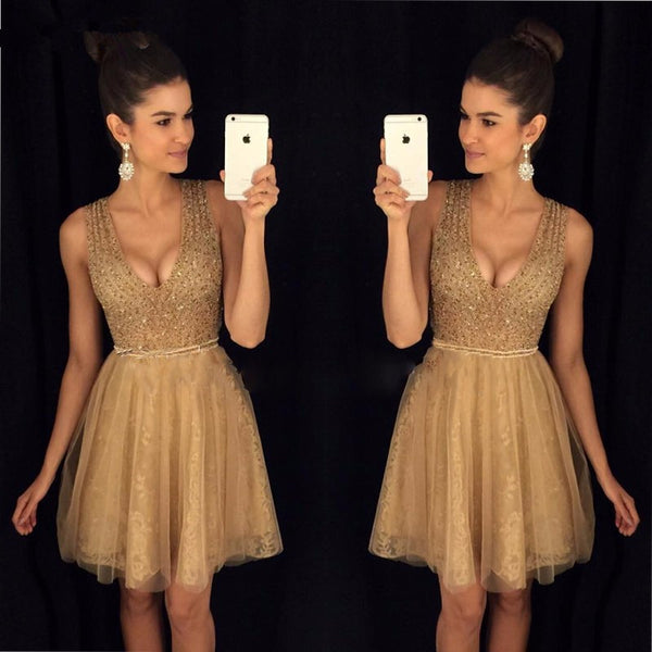 A-Line Beaded Bling Homecoming Dresses Short Lace Girls Graduation Dresses