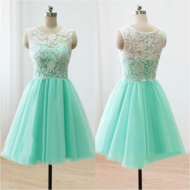 Lace Homecoming Dress, Mint Chiffon Strapless Homecoming Dress