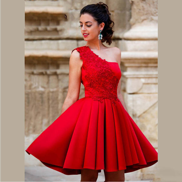 Red A Line Mini Homecoming Dresses One Shoulder Beautiful Lace Short Party Dresses For Graduation