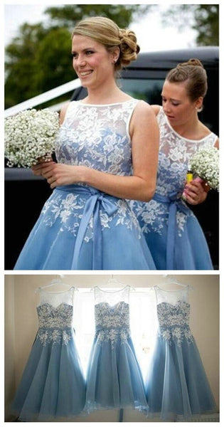 Popular Organza Bateau Lace Short Bridesmaid Dresses, Wedding Party Dress