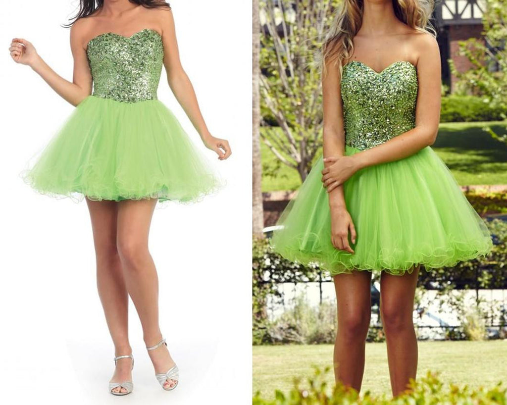 Green Chiffon Homecoming Dress,Crystals Homecoming Dress,Homecoming Dresses