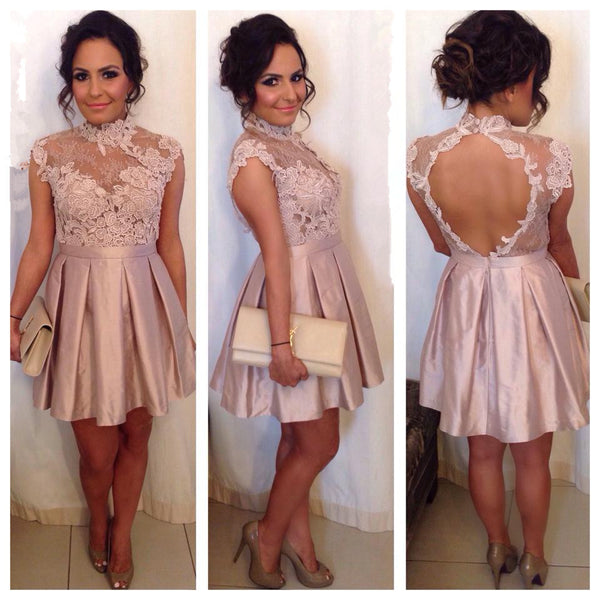 Cocktail Dresses High Neck Lace Appliques Pink Homecoming Dress