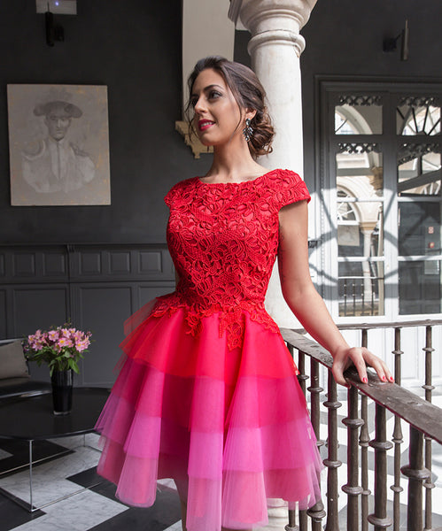 2017 Red Lace Homecoming Dresses Sleeves Multi Colors Short Cocktail Dress