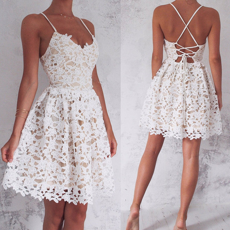 Straps Lace-up Spaghetti Sleeveless Homecoming Dress