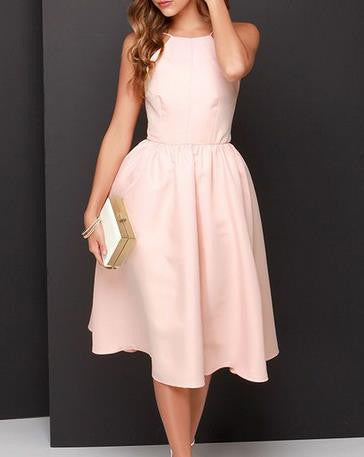 Backless Pink Simple A-line Homecoming Dress
