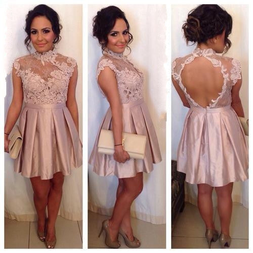 Open Back Homecoming Dress, Blush Pink Applique Homecoming Dress