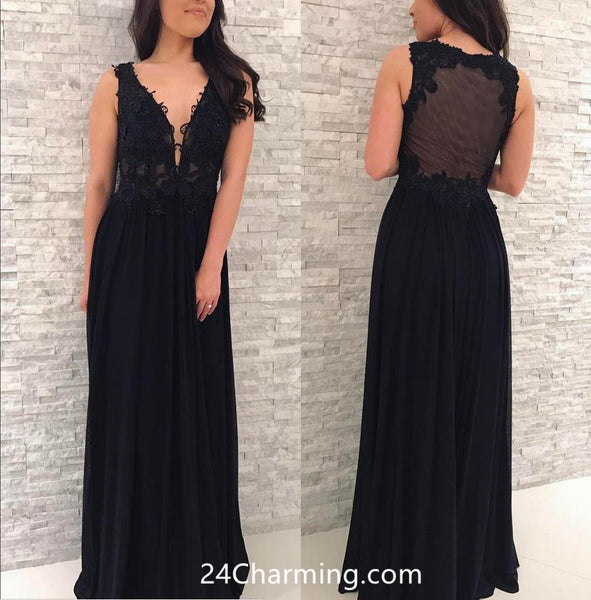 Deep V-neck Black Lace Applique Prom Dress