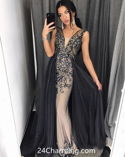 Black V Neckline Embellished Pageant Dress, Plunging Neck Prom Dress